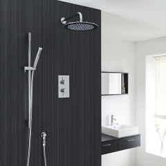 "Valquest Thermostatic Shower Valve With Divertor 2 Outlets, 12"" Round Head & Slide Rail Kit"