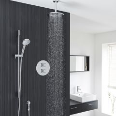 """Kristal Thermostatic 2 Outlet Shower System with Multi-Function Handshower & 8"""" Ceiling Mounted Head"""