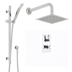 """Beaumont Thermostatic 2 Outlet Shower System with 8"""" Square Head & Wall Arm & Handset"""