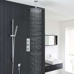 "Tec Thermostatic Shower System with 12"" Round Ceiling Head & Handshower"
