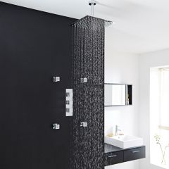 """Kubix Thermostatic Shower System with 12"""" Square Ceiling Head & 4 Square Jet Sprays"""