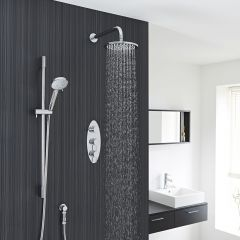 "Quest Thermostatic Shower System with 8"" Head with Wall Arm & Multi-function Handshower"