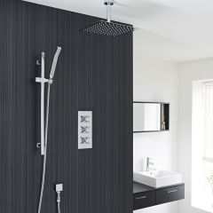 "Kristal Thermostatic Shower System with 12"" Square Head & Ceiling Arm & Handset"