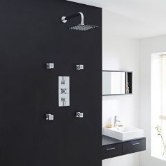 """Tec Thermostatic Shower System with 8"""" Square Head & Wall Arm & 4 Square Jet Sprays"""