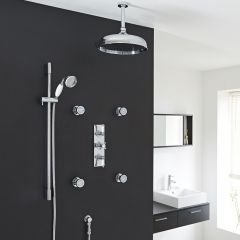 "Valquest Thermostatic Shower System with 12"" Ceiling Head, Handshower & 4 Round Jet Sprays"