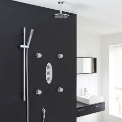 "Kristal Thermostatic Shower System with 8"" Head with Ceiling Arm , Handshower & 4 Round Jet Sprays"