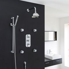 "Beaumont Thermostatic Shower System with 8"" Round Rose & Arm , Handset & 4 Round Jet Sprays"