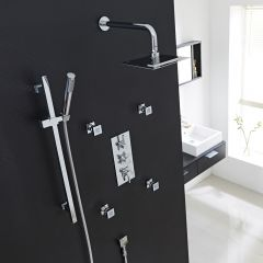"Tec Thermostatic Shower System with 8"" Square Head & Wall Arm , Handset & 4 Square Jet Sprays"