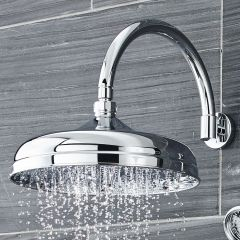 """12"""" Apron Shower Head with Curved Wall Arm"""