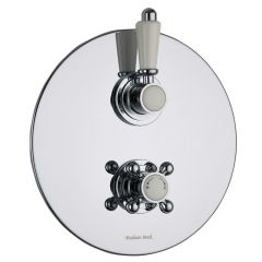 Traditional Concealed 1 Outlet Twin Thermostatic Shower Valve (Round Plate)