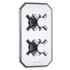Kristal Concealed 2 Outlet Twin with Diverter Thermostatic Shower Valve (Traditional Plate)