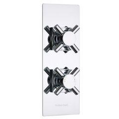 Kristal Concealed 2 Outlet Twin with Diverter Thermostatic Shower Valve (Slim Trim Plate)