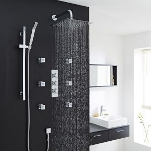 """Kristal Thermostatic Shower System with 12"""" Square Head & Wall Arm , Handset & 6 Square Body Sprays"""
