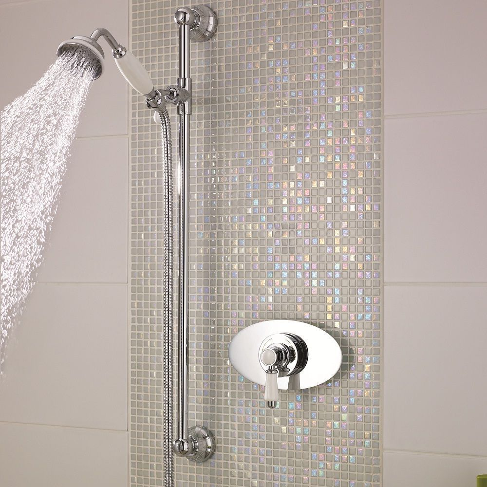 Traditional Concealed Sequential Thermostatic Shower with Slide Rail Kit
