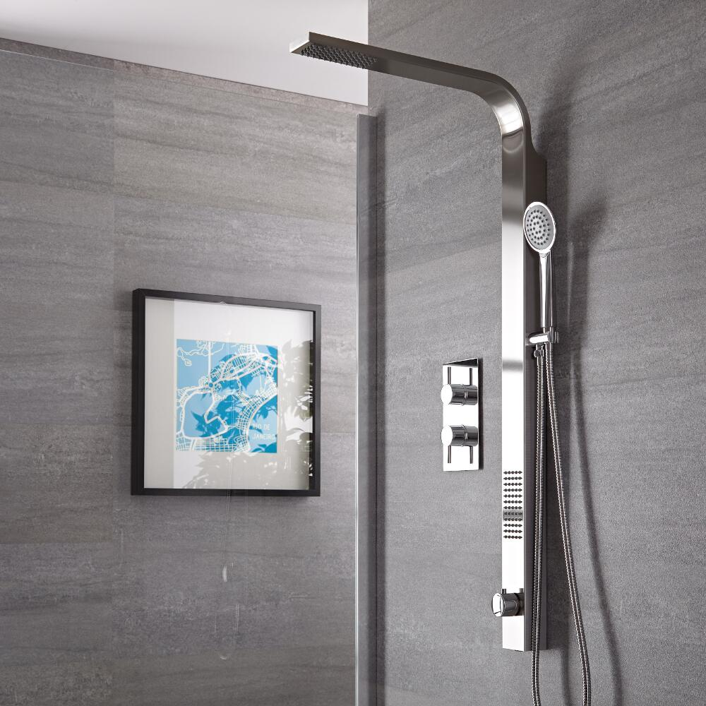 Harding Brushed Rigid Shower Kit Top Inlet With Twin Shower Valve