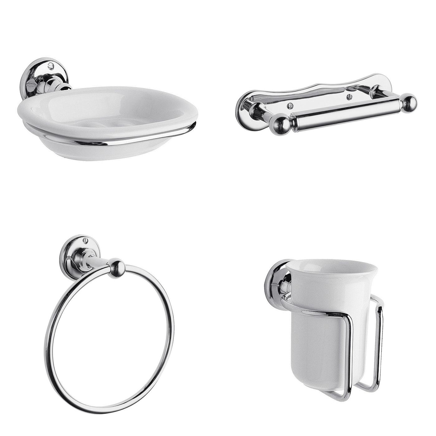 Traditional Chrome Bathroom Accessory Set