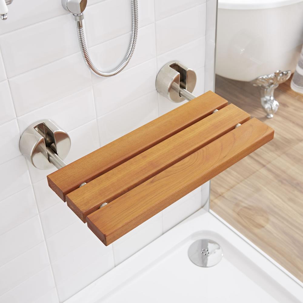 Bengal Teak Luxury Folding Shower Seat with Brushed Nickel Brackets
