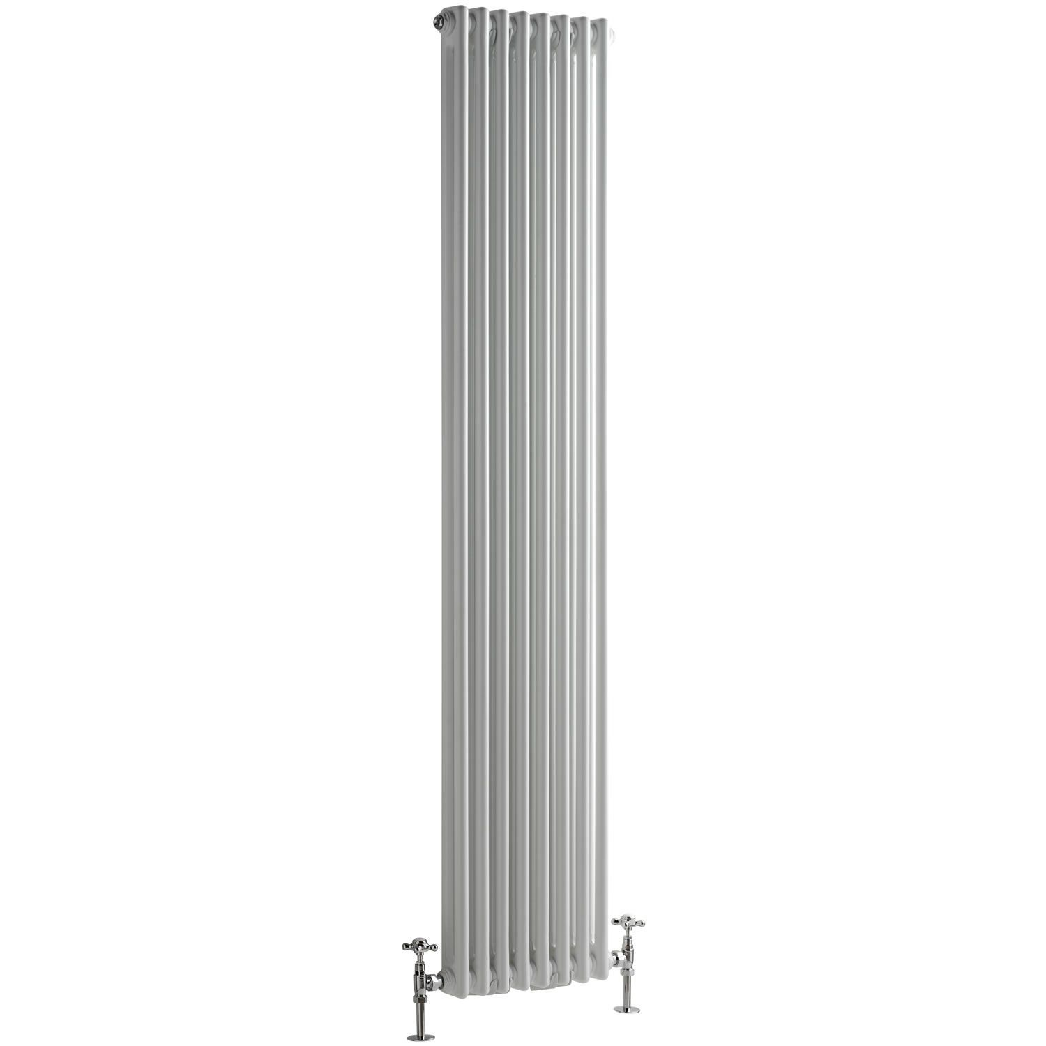 "Regent - White Vertical 2-Column Traditional Cast-Iron Style Radiator - 70.75"" x 15"""
