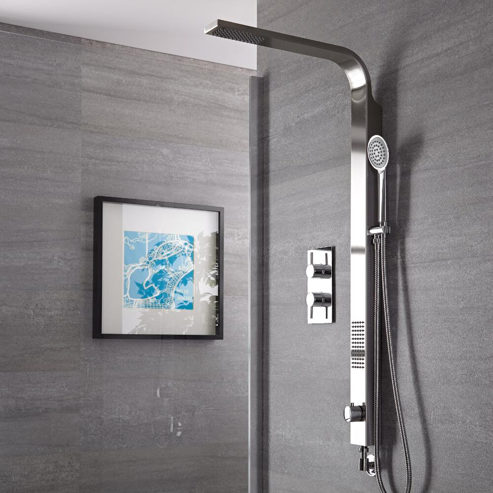 Harding Brushed Rigid Shower Kit Bottom Inlet With Twin Shower Valve
