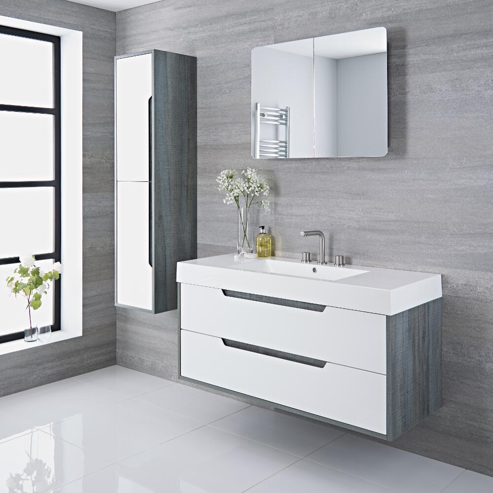 Newport - 47'' White & Gray Wall-Mount Bathroom Vanity