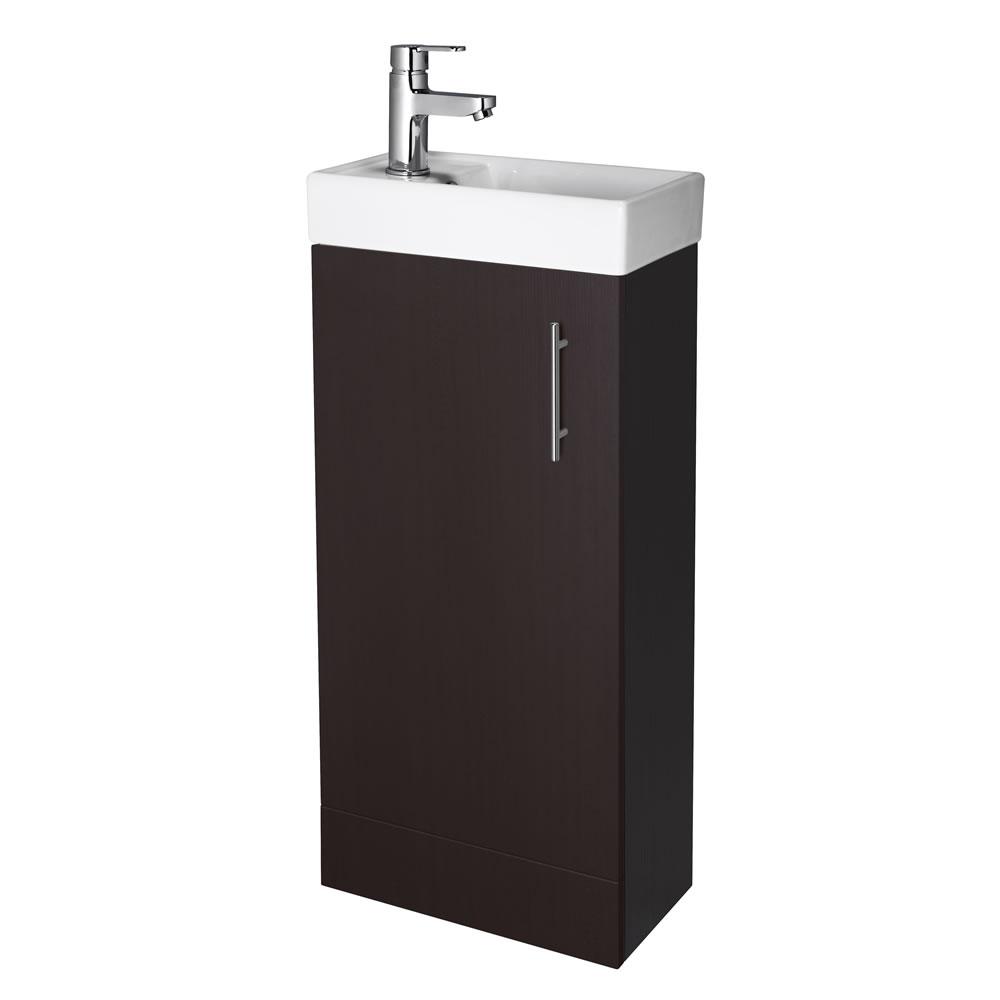 """Ebony Brown Small Floorstanding Vanity Vessel Sink 16"""""""