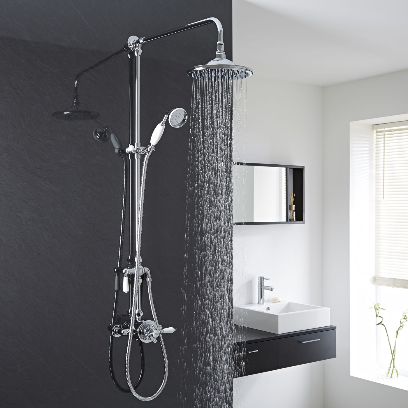 traditional exposed dual control thermostatic shower faucet valve with grand shower kit. Black Bedroom Furniture Sets. Home Design Ideas