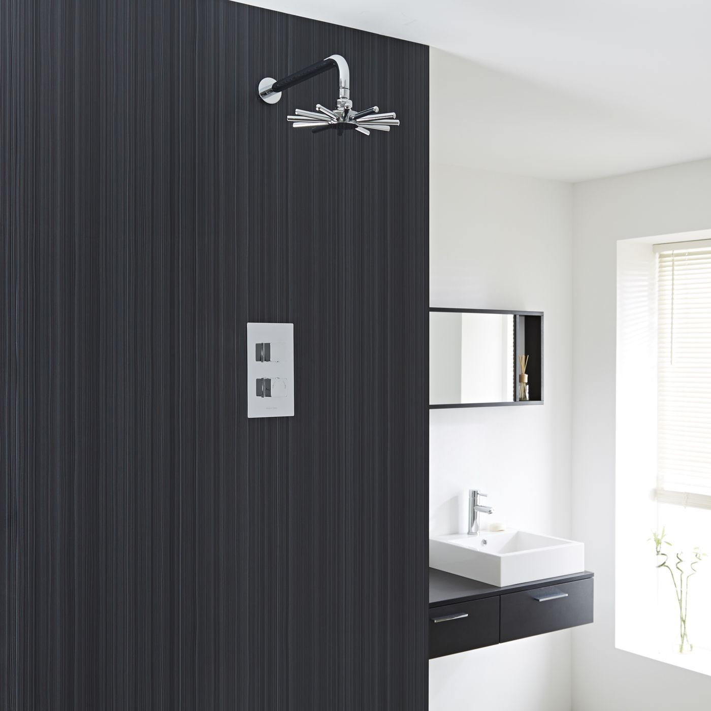 Chrome Concealed Square Thermostatic Shower Faucet valve with Cloudburst fixed head