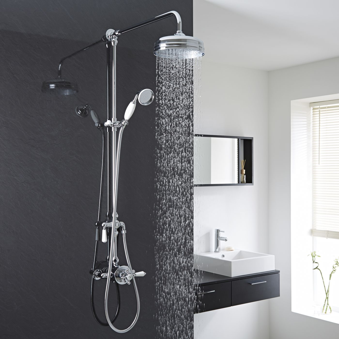 Dual Exposed Traditional Thermostatic Shower Valve with Grand Rigid Riser