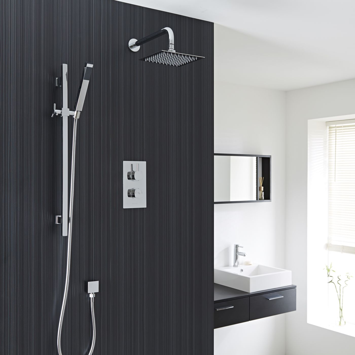 "Kia/Jule Twin Concealed Thermostatic Shower With Diverter, 8"" Square Head and Slider Rail Kit"