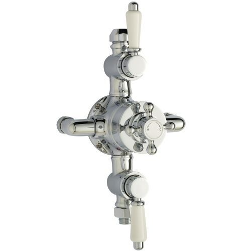 Chrome Triple Exposed Traditional Thermostatic Shower Faucet Solid Brass Valve