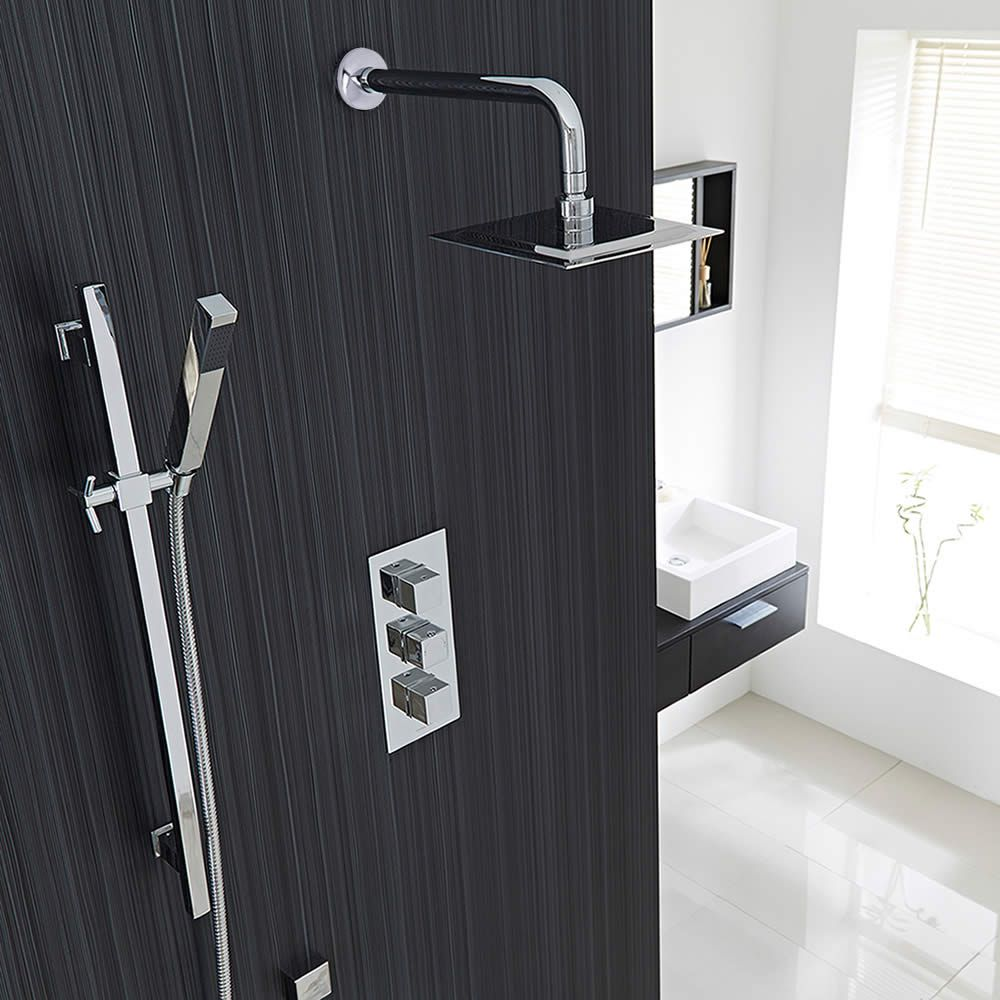 Kubix Thermostatic 2 Way Shower Set With Fixed Head and Hand Sprayer