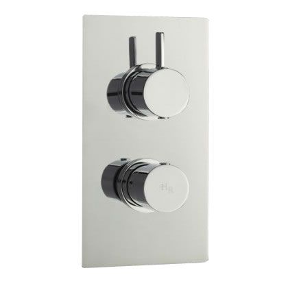 Clio Concealed Thermostatic Twin Shower Faucet Valve with Diverter 2 Outlet Options - Chrome Finish