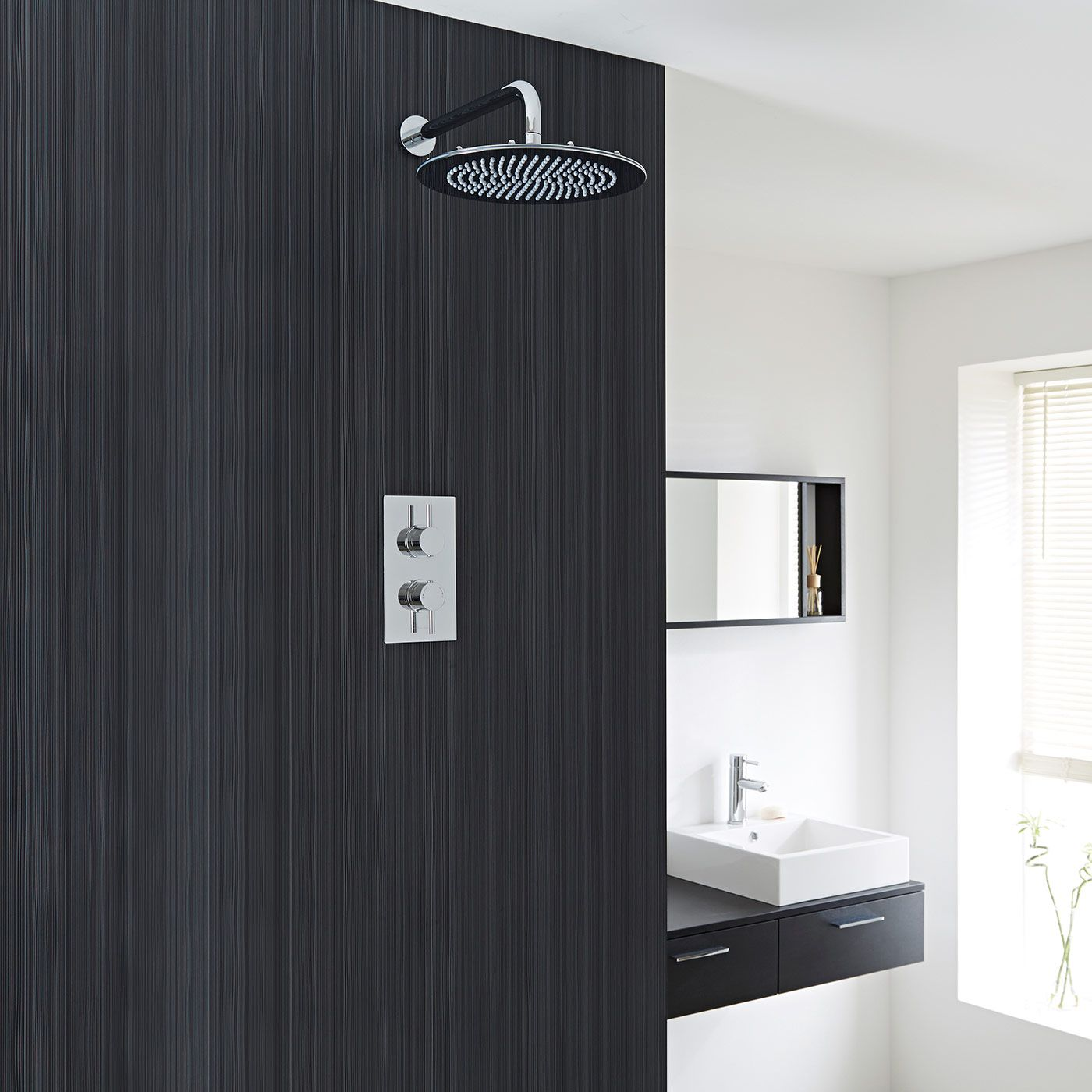 "Quest Thermostatic 1 Outlet Shower System with 12"" Head"