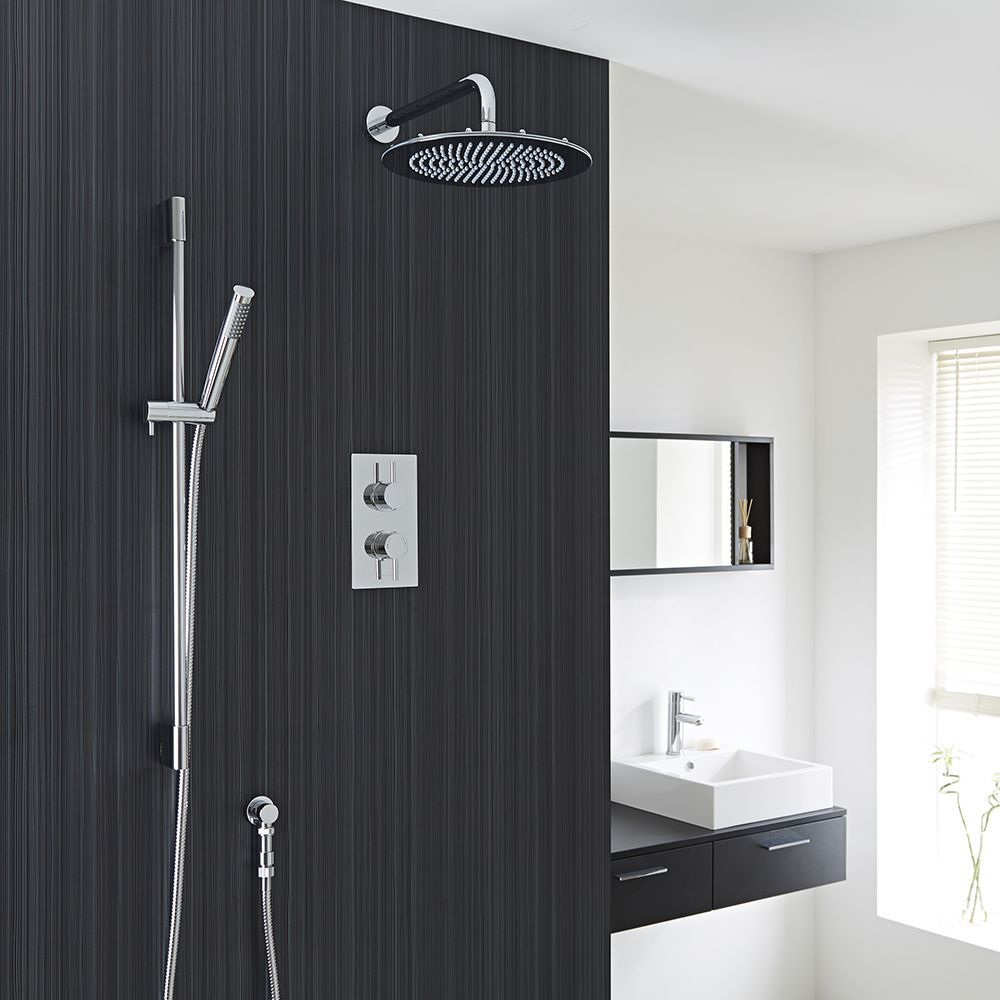 """Quest Thermostatic 2 Outlet Shower System with 12"""" Head & Handshower"""