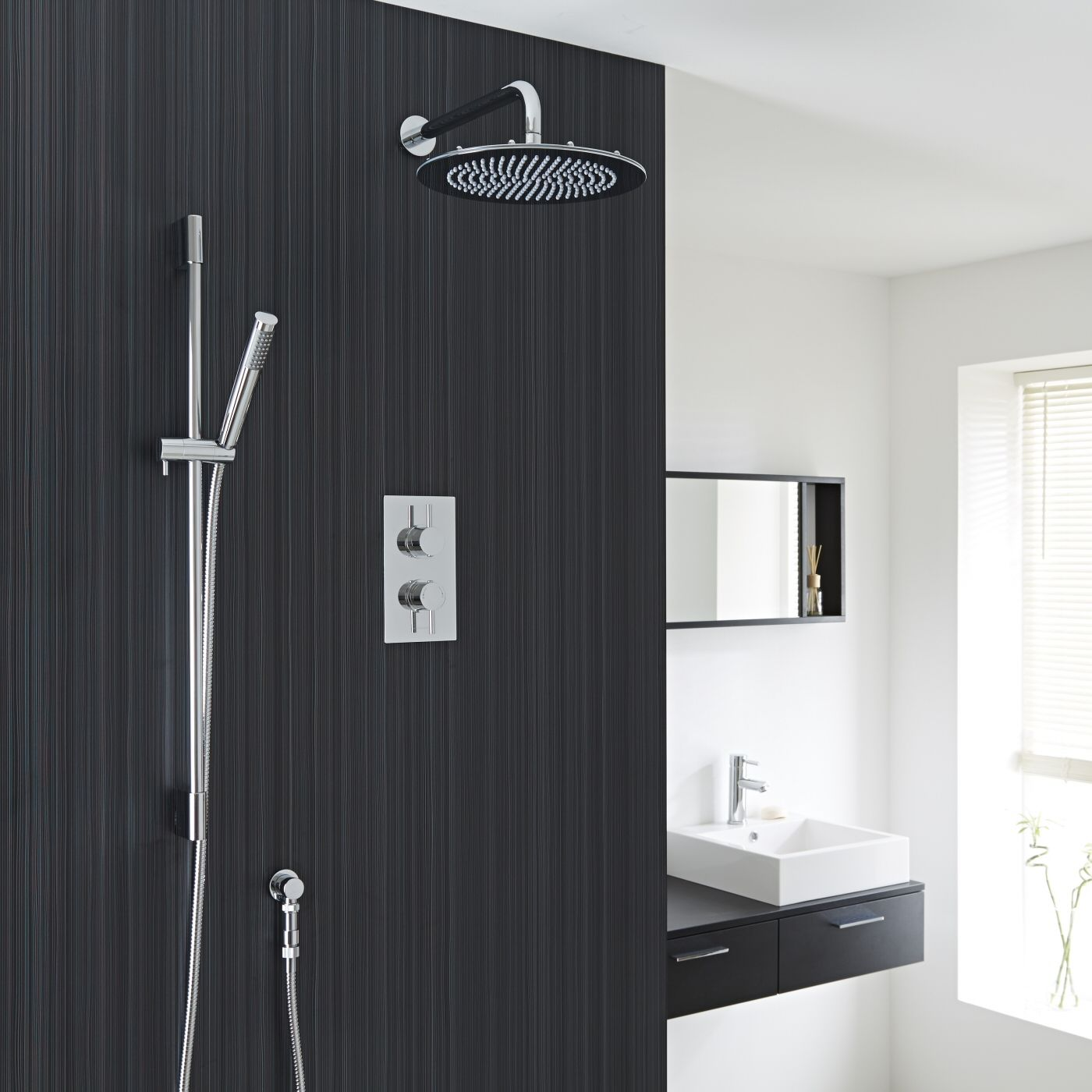 """Valquest Thermostatic Shower Valve With Divertor 2 Outlets, 12"""" Round Head & Slide Rail Kit"""