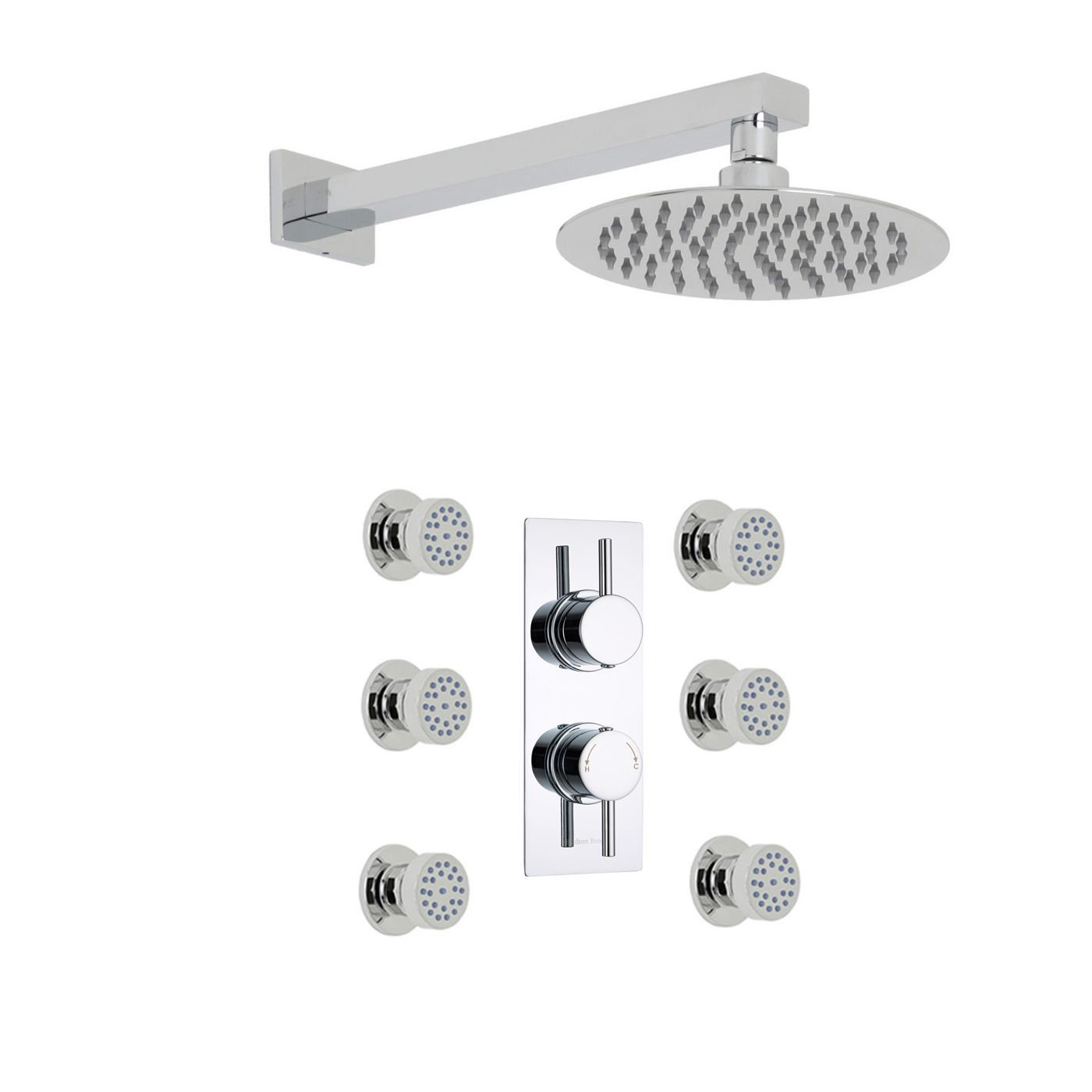 """Quest Thermostatic 2 Outlet Shower System with 8"""" Head & 6 Sheer Jet Sprays"""