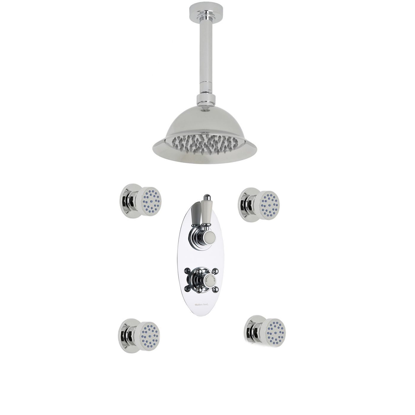 "Traditional Thermostatic 2 Outlet Shower System with 8"" Rose with Ceiling Arm & 4 Round Jet Sprays"