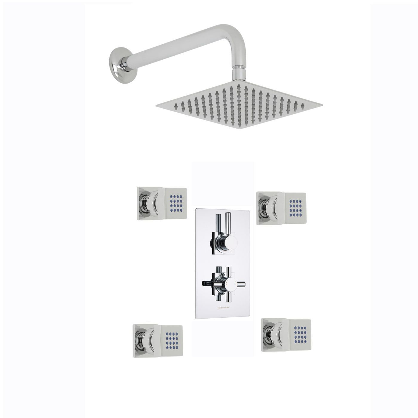 "Tec Thermostatic 2 Outlet Shower System with 8"" Square Head & Wall Arm & 4 Square Jet Sprays"