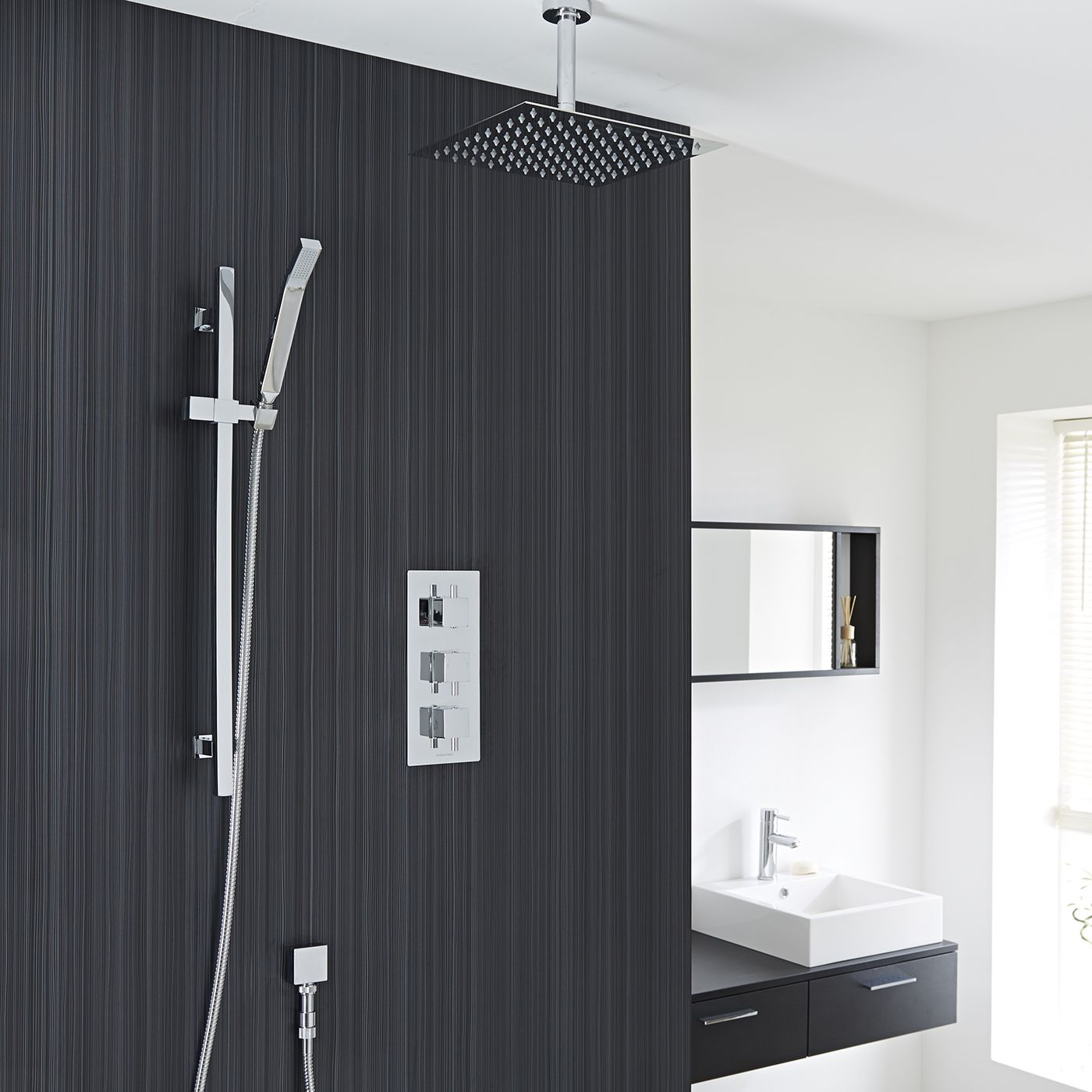 "Square Thermostatic Shower System with 12"" Ceiling Head & Handshower"