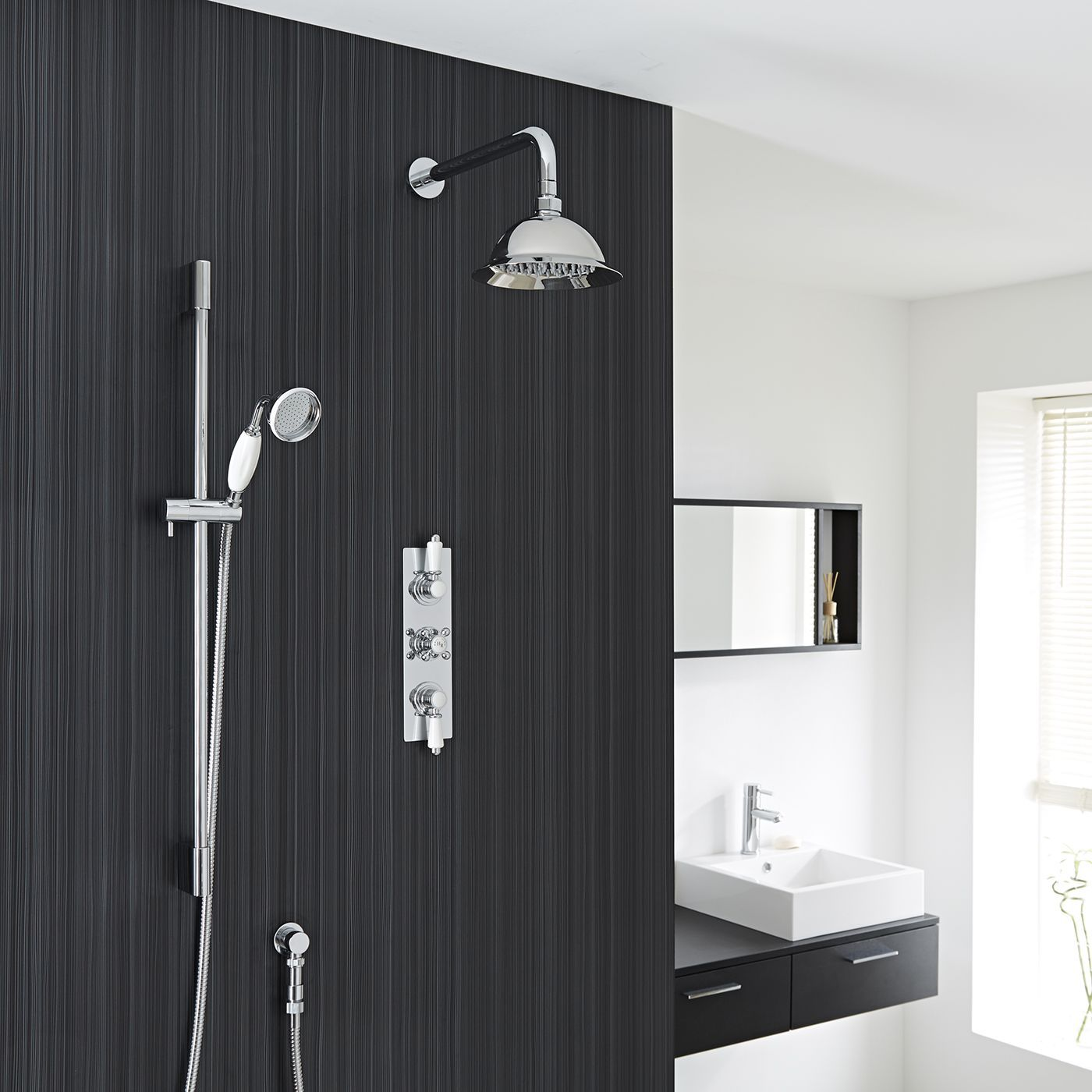 "Traditional Thermostatic Shower System with 8"" Rose & Handshower"