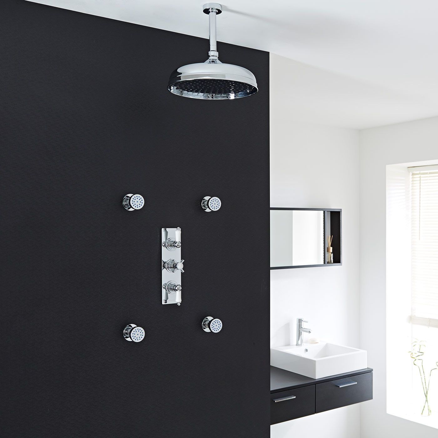 """Beaumont Thermostatic Shower System with 12"""" Ceiling Apron & 4 Round Jet Sprays"""