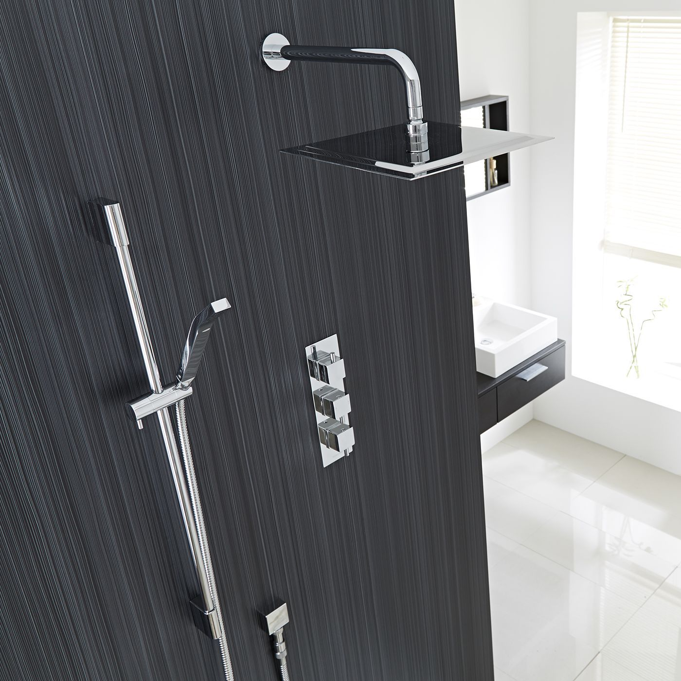 """Square Thermostatic Shower System with 12"""" Head with Wall Arm & Handshower"""