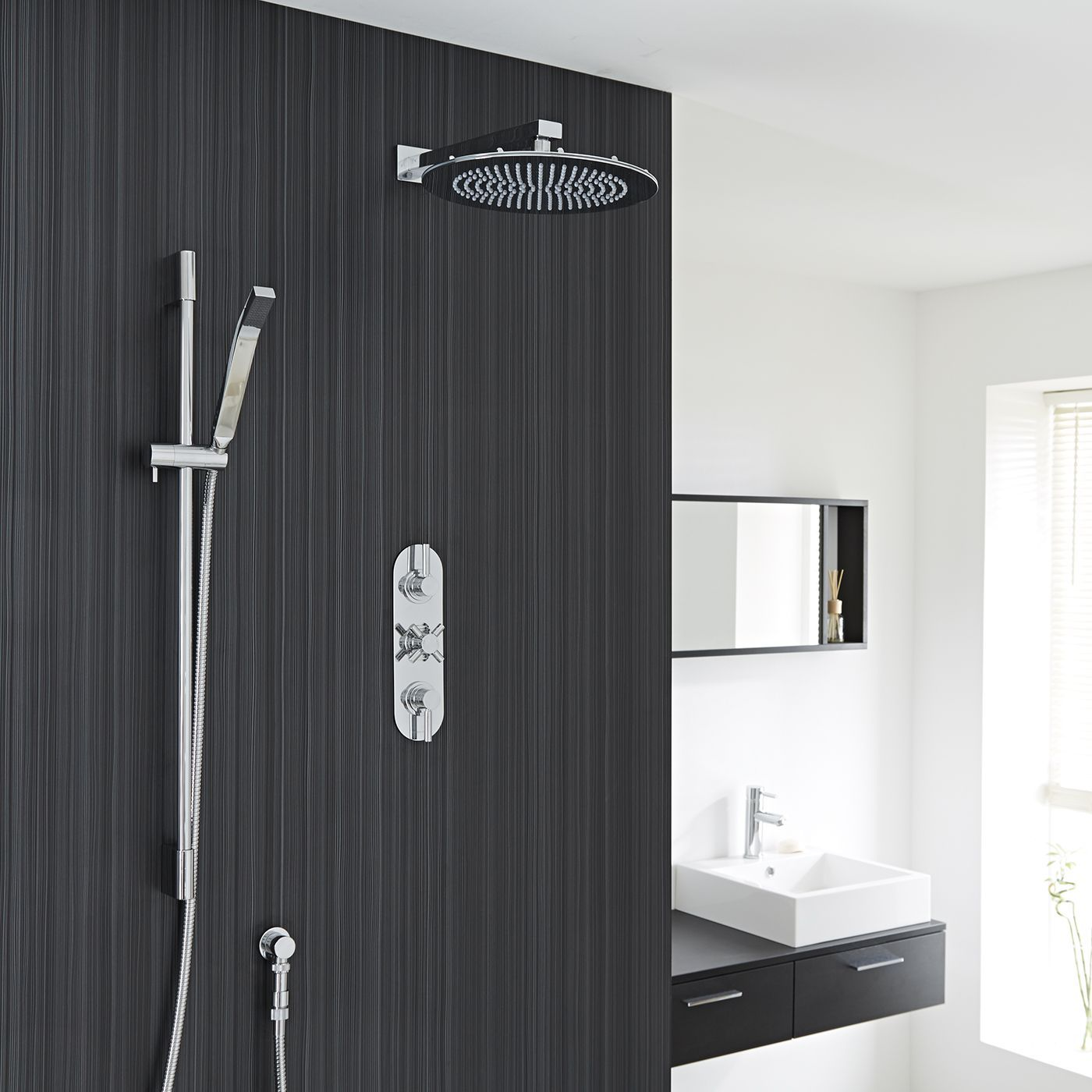 "Tec Thermostatic Shower System with 12"" Round Head & Arm & Brass Handset"