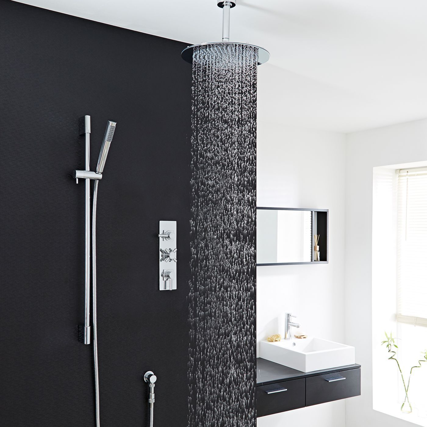 """Tec Thermostatic Shower System with 12"""" Head & Ceiling Arm & Handset"""