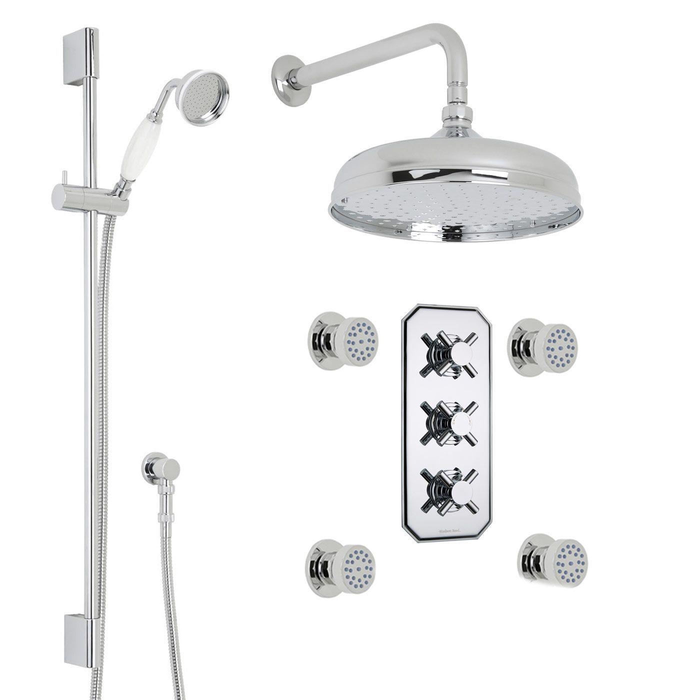 "Kristal Thermostatic Shower System with 12"" Round Head & Wall Arm , Handset & 4 Round Body Sprays"