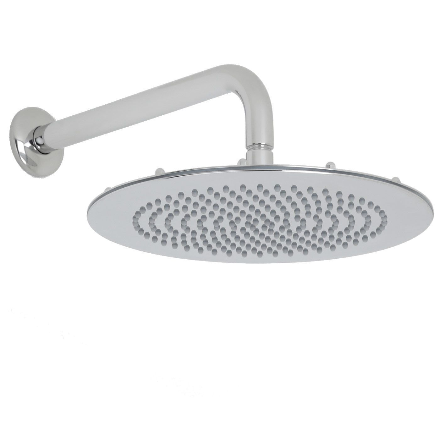 """Valquest 12"""" Round Thin Shower Head with Wall Arm"""