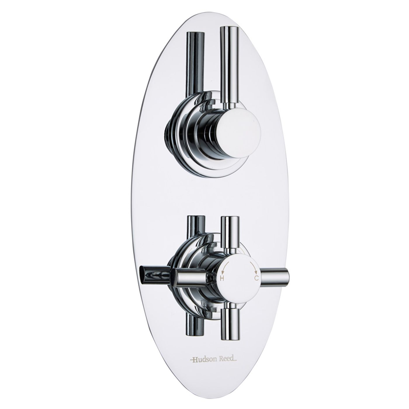 Tec Concealed 1 Outlet Twin Thermostatic Shower Valve (Oval Plate)