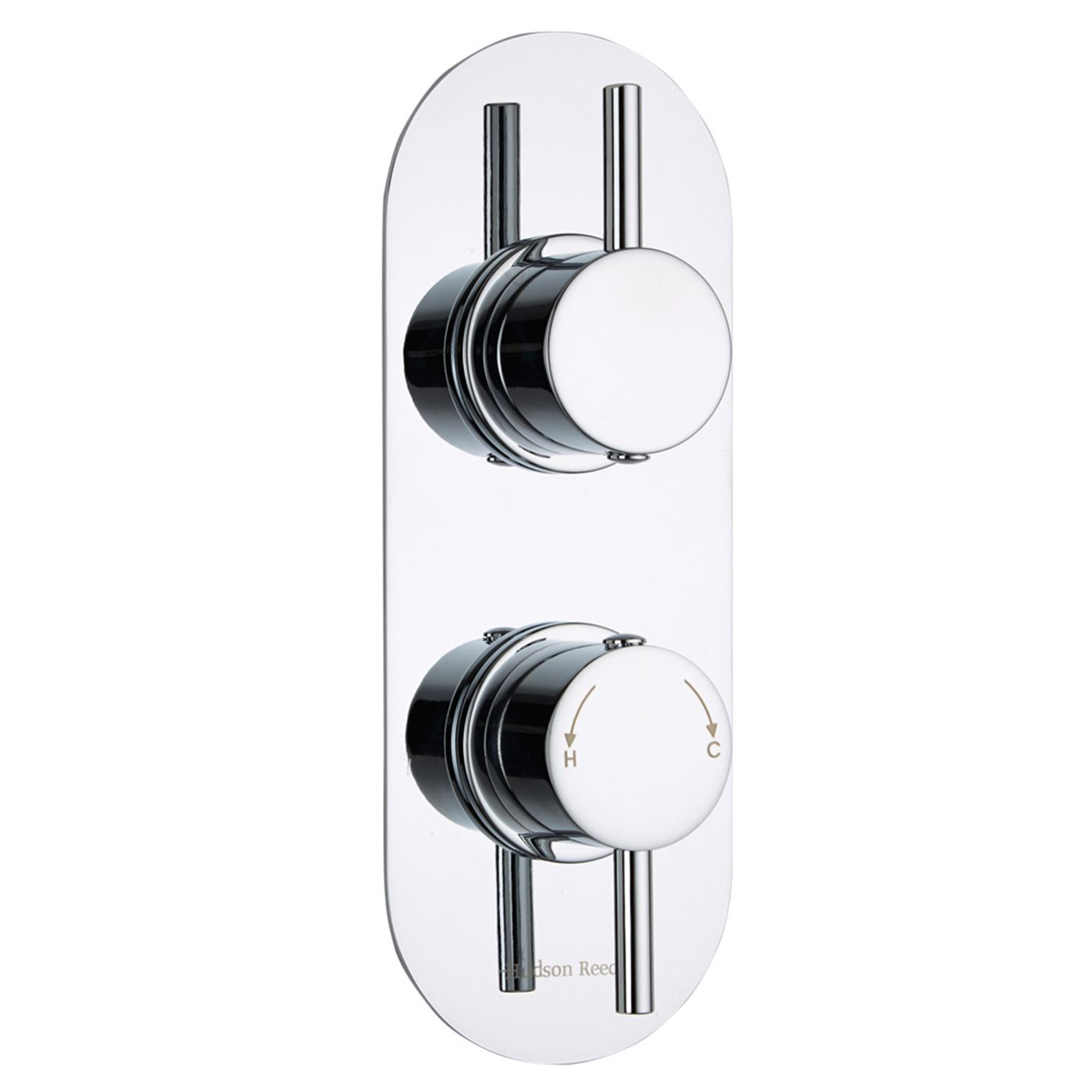 Quest Concealed 2 Outlet Twin with Diverter Thermostatic Shower Valve (Racetrack Plate)