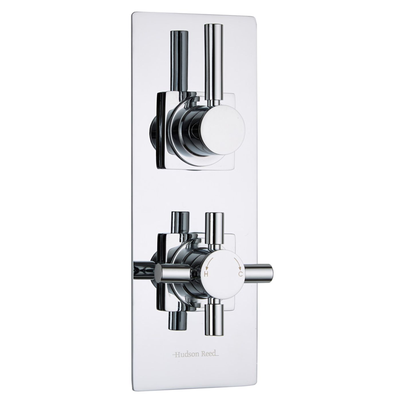 Tec Concealed 2 Outlet Twin with Diverter Thermostatic Shower Valve (Slim Trim Plate)