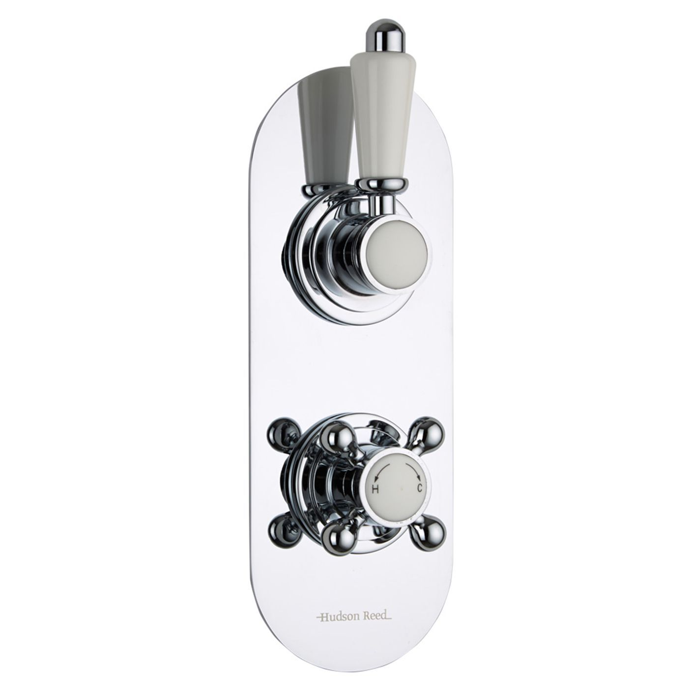 Traditional Concealed 1 Outlet Twin Thermostatic Shower Valve (Racetrack Plate)
